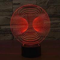 リモコン付き3Dナイトライト抽象的なグラデーションLEDアクリルビジュアルタッチ充電イリュージョン3Dカラフルなナイトライト雰囲気装飾_7色変更可能-タッチ