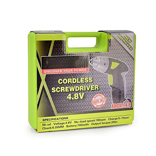 FFXENG 4,8 V Cordless Drill/Driver Generic, accu's 700 mAh 45 stuks gratis accessoires, oplader, LED-koplampverlichting, 6 mm boorhouder Auto-Lock