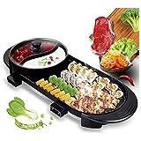 Hot Pot portátil eléctrica Grill, multifuncional Teppanyaki Grill con Hot Pot barbacoa sin humo dual de control de...