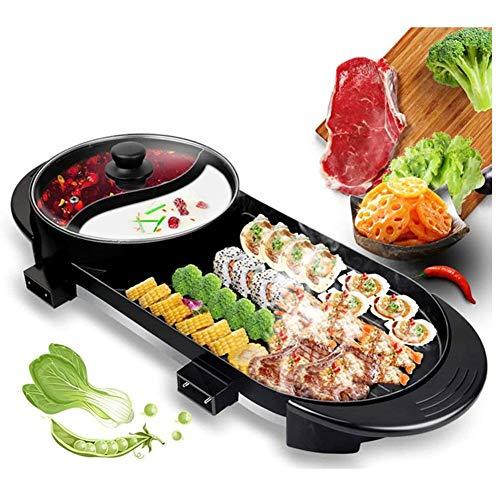 Hot Pot portátil eléctrica Grill, multifuncional Teppanyaki Grill con Hot Pot barbacoa...