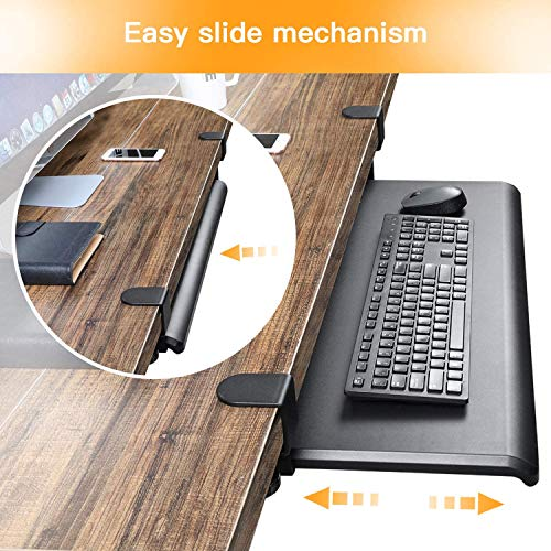 HUANUO Keyboard Tray Under Desk with C Clamp-Large Size, Steady Slide Keyboard Stand, No Screw into Desk, Perfect for Home or Office