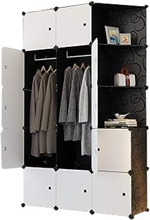 Cube Wardrobe Cabinet Cupboard Cloth Closet DIY Modular Clothing Storage Organizer Plastic 6 Cubes 2 Hanging Section 3 Cor...