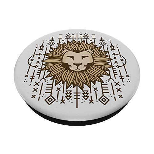 Löwe Löwenkopf Muster PopSockets PopGrip: Ausziehbarer Sockel und Griff für Handys/Tablets mit Tauschbarem Top