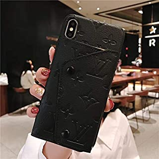 iPhone Xs X 10, Luxury Stylish Special Imprint Leather with 6 Card Solts Holder Multi-Function Wallet Cover Case for iPhone Xs X 10 -Fashion Black