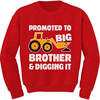 Tstars Promoted to Big Brother and Digging Tractor Loving Boy Toddler/Kids Sweatshirt