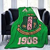 AIMOM Alpha Kappa Alpha AKA Blanket Soft Cozy Throw Blanket Flannel Blankets for Couch Bed Living Room 50 X 60 Inch