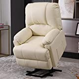Electric Power Lift Recliner Chair with Massage and Heat, Recliner Sofa Chair for Elderly,3 Positions,Massage Recliner with Side Pokcets,Remote Control, Faux Leather,Creamy-White