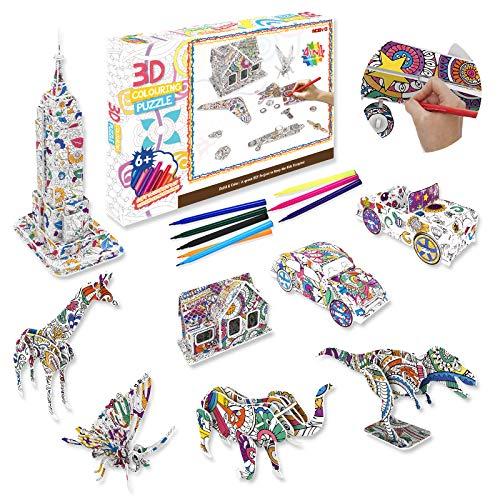 Pajaver Juego de rompecabezas para colorear 3D, rompecabezas 3D para colorear artístico, para niños y niñas de 6 a 12 años, juego de rompecabezas de 9 piezas con 10 rotuladores