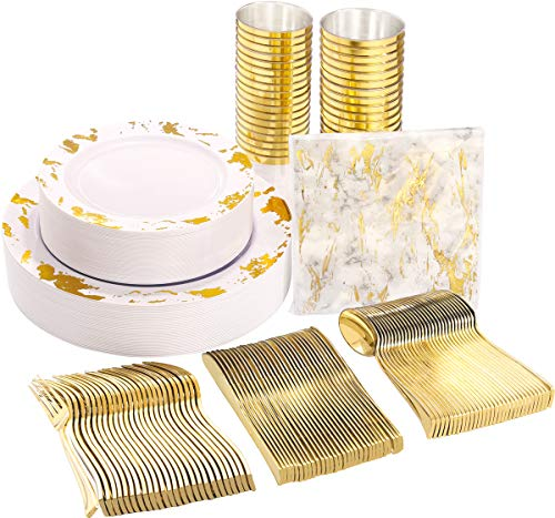 Nervure 175PCS Gold Plastic Plates with Marble Printing & Gold Plastic Silverware:50 Plates, 25 Forks, 25 Knives, 25 Spoons, 25 Cups, 25 Napkins for Wedding, Parties