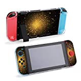 SUPNON Abstract Golden Sparkles On Black Background Protective Case Compatible with Nintendo Switch Soft Slim Grip Cover Shell for Console & Joy-Con with Screen Protector, Thumb Grips Design26137