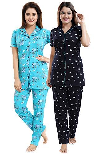 Be You Blue-Black Cotton Women Shirt & Pyjama Night Suit Pack of 2 - Large