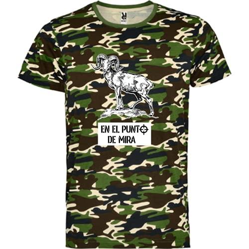 rainUP – Camiseta de Caza – Regalo para Cazador – Camiseta Motivacional Cabra montesa - Día del Padre (Verde, L)