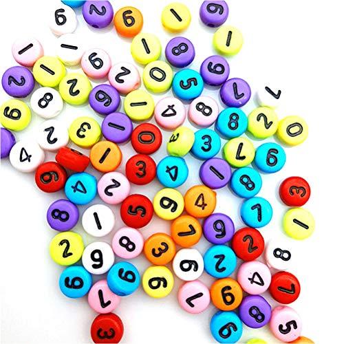 100 cuentas acrílicas de letras A-Z, cuentas de números de 0 a 9, cuentas coloridas para manualidades para hacer pulseras, collares, llaveros, regalo manual