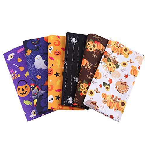 Tela de Halloween, tema de Halloween Tela de algodón Fantasma Calabaza Gatos Patrón Naranja Impreso Decorativo Aleatorio multicolor Patchwork para costura DIY Suministros de decoración de Halloween