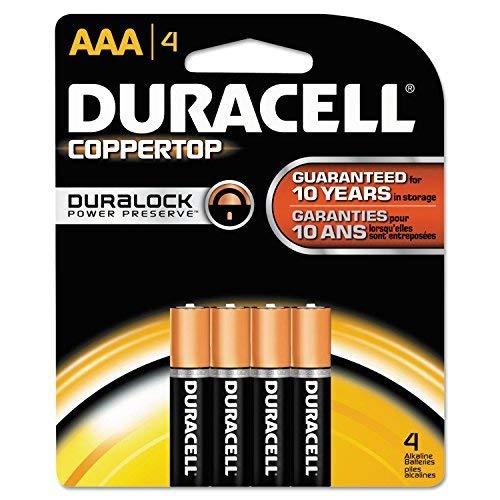 Duracell MN2400B4Z CopperTop Alkaline Batteries, AAA, 4/PK