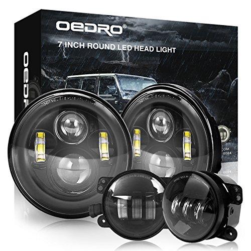 OEDRO 7' Black LED Headlights High Low Beams+ 4' LED Combo Fog Lights Compatible for Jeep Wrangler 97-2018 JK TJ LJ, Driving Offroad Lamp Upgraded DOT Approved