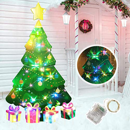 HOME COMPOSER Christmas Tree Decorations -46In Xmas Yard Stake Signs with String Lights- New Year Decor Outdoor Outside for Lawn Pathway Walkway
