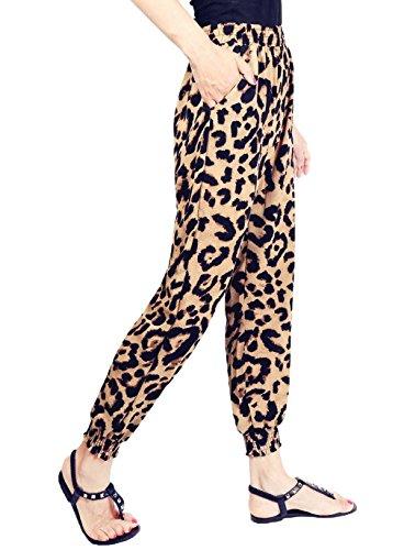 COMVIP Mujeres Alta gasa de la cintura floja Impreso pantalones de harén de bolsillo Asia: XXL: Longitud: 90 cm, cintura: 70-106cm Leopardo