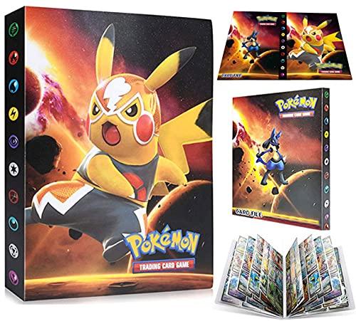 EMZOH Tarjetero Pokémon, Álbum de Pokemon Album Pokemon, Álbum de Cartas Coleccionables Pokémon, Album Pokemon Cartas , 30 Páginas, hasta 240 Tarjetas (Yellow Pikachu)