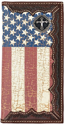 Custom Ornate Cross American Flag Long Wallet with Distressed United States Flag