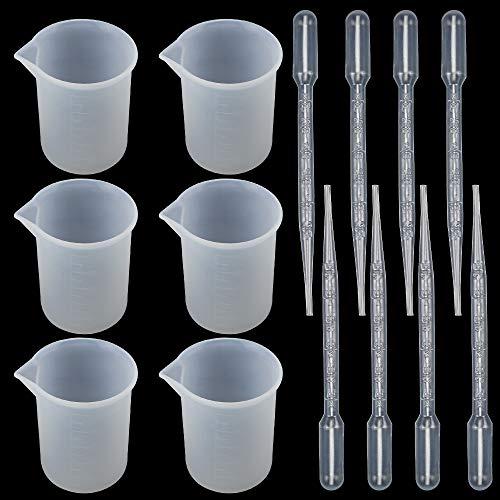 N A Silikon-Messbecher 100 ml 16-teiliges Messbecher Set inklusive 8 Stück 100ml Transparente Mischbecher mit Skala und 8 Stück 3ml Pipette für Küche Labor Tests Epoxidharz Kunsthandwerk Gussformen