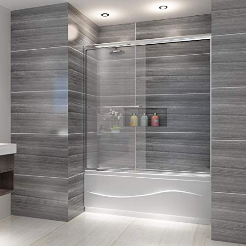 ELEGANT Bypass Double Sliding Tub Shower Door, 60 in. W x 62 in. H Bathtub Sliding Door, 1/4 inch Clear Glass Panel, 1.5 in. Width Adjustment, Chrome Finish