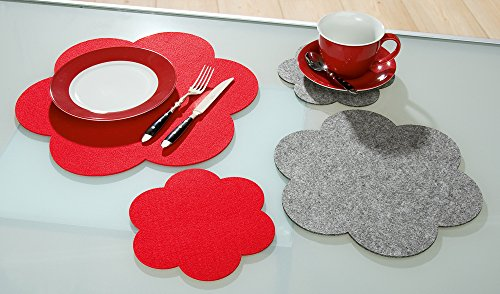 Set de table Fleur de feutre, gris clair, grand