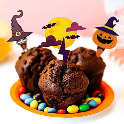 Gxhong 48 Pezzi Halloween Cupcake Topper, Decorazioni per Cupcake di Halloween, Involucri e Topper per Cupcake, Halloween Topper Decorativo