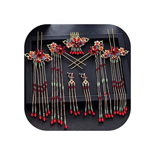 Sweet But Psycho Wedding HeaddressTocado tradicional chino para novia con cuentas, horquillas rojas largas borlas para novias, joyas para el pelo, Rojo,