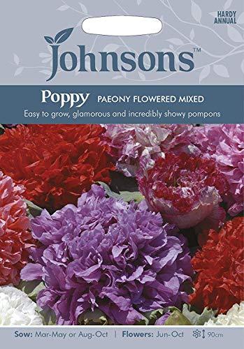 1: Johnsons Graines de Pavot Pivoine Flowered Mix Graines - Showy Pompon Fleurs!