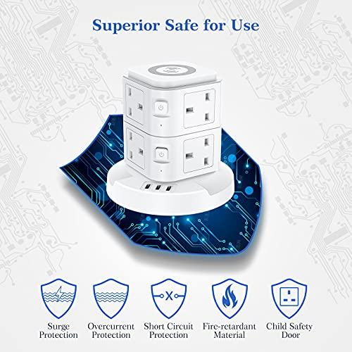 Extension-Lead-Power-Strip-Tower-8-Way-Surge-Protection-Power-Strip-with-Wireless-Charging-3-USB-Ports-Multi-Plug-Desktop-Power-Extension-for-Home-Office-2-M-Cord
