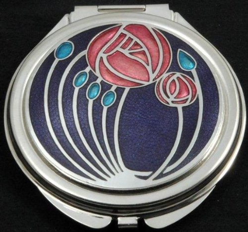 Sea Gems Compact Mirror in a Mackintosh Two Roses Design. (Purple)