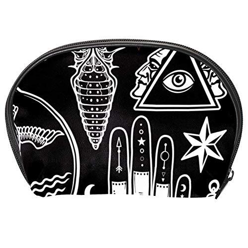 Bennigiry Trousse de maquillage pour femme avec motifs alchimiques, tête de mort, soleil et lune