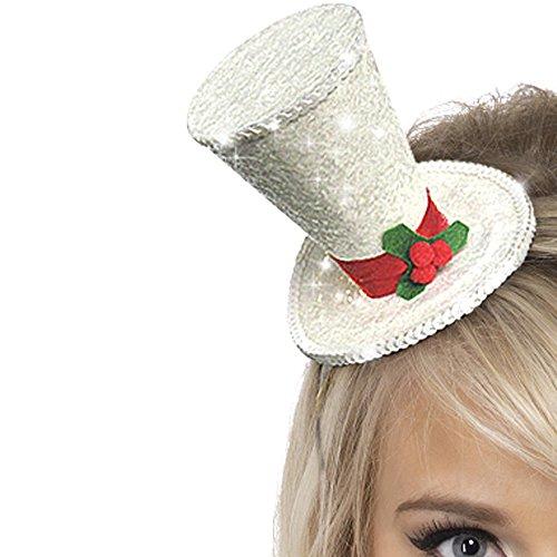 Smiffys dames witte kerst glitter hoed op haarband, één maat, glitter, 22046