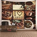 Beydodo Tapices Vintage Proceso de Elaboración del Café Marrón,Tapiz Tela Pared Poliéster Tamaño 300X260CM