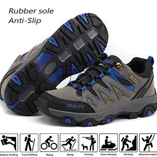 Lvptsh Zapatillas de Trekking para Hombre Botas de Montaña Zapatillas de Senderismo Calzado de Trekking Botas de Senderismo Antideslizantes AL Aire Libre Transpirable Sneakers,Gris,EU40