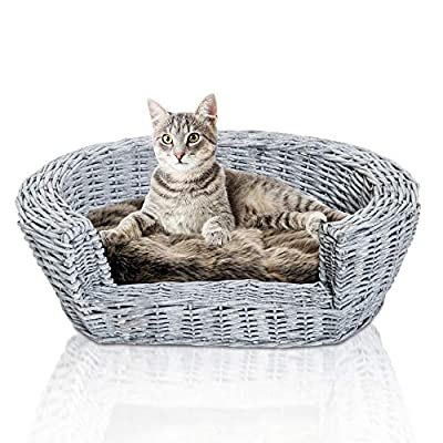 Pawhut Wicker Pet Bed Willow Dog Cat Sofa Couch Puppy Basket with Cushion Grey 57L x 46W x 17.5H cm from MH STAR UK LTD