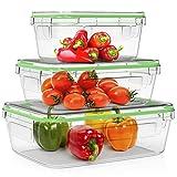 Home Fleek - Contenitori per Alimenti in Vetro | 3 contenitori + 3 coperchi | Ermetico | Senza BPA (Set 3, Verde Rettangolare)