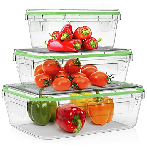 Home Fleek - Set de 3 Envases de Vidrio Rectangular para Alimentos   Recipientes Herméticos de Cristal Para La Cocina   Apto para Lavavajilla, Horno, Microondas, Congelador   Sin BPA (Verde, Set de 3)