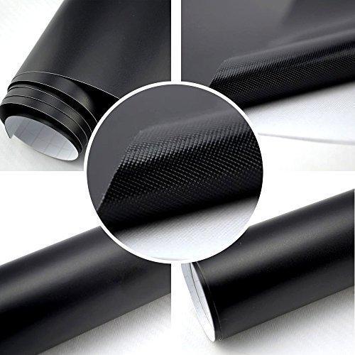 TipTopCarbon 8,55€/m² Autofolie Matt Schwarz 152cm breit Blasenfrei Autofolie selbsklebend mit Luftkanäle 3D Flex Folie Auto