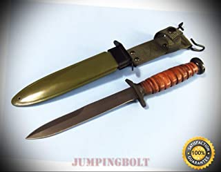 WWII M3 Trench Knife 211133 Stacked Leather fixed blade 11 5/8'' overall CHINA - Knife for Bushcraft EMT EDC Camping Hunting