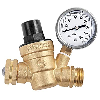 AECOJOY Water Pressure Regulator Brass Lead Free, NH Thread for RV, Adjustable Plumbing with 160 PSI Guage from AECOJOY