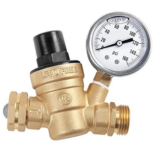 AECOJOY Water Pressure Regulator Brass Lead Free, NH Thread for RV, Adjustable Plumbing with...
