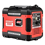 Goplus Inverter Generator Portable Gas-Powered Generator CARB Compliant w/Eco-Mode, Convenient Handle, Dual 120V AC Outlet, 12V DC Output (Red 2000W)