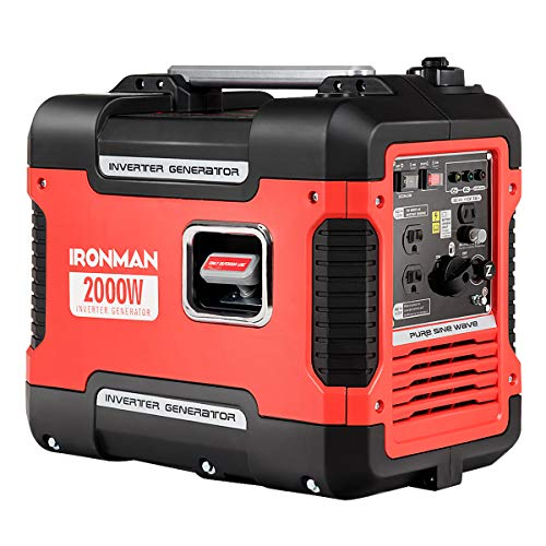 Goplus Inverter Generator Portable Gas-Powered Generator CARB Compliant w/Eco-Mode, Convenient Handle, Dual 120V AC Outlet, 12V DC Output (Red 2000W) generator Goplus inverter