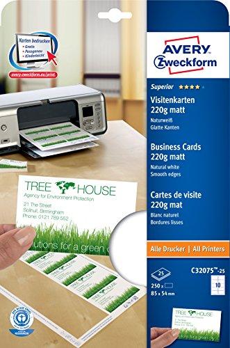 Avery Zweckform C32075-25 Superior Visitenkarten (250 Stück, 85 x 54 mm, einseitig beschichtet, matt) 25 Blatt
