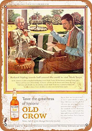Tamengi 7''x10''Metal Sign 1963 Old Crow Whiskey Mark Twain Rudyard Kipling Vintage Look
