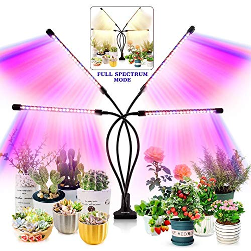 Grow Light for Indoor Plants - Upgraded Version 80 LED Lamps with Full Spectrum & Red Blue Spectrum, 3/9/12H Timer, 10 Dimmable Level, Adjustable...