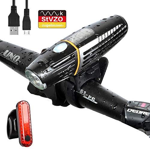 MEckily Fahrradlicht Set - LED Fahrradbeleuchtung StVZO Zugelassen USB Aufladbar Fahrradlichter Fahrradlampe mit Sensor 450 Lux Leuchtstärke, Front- & Rücklicht IPX5 Wasserdicht Licht für Fahrrad