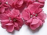 YYCRAFT 20 Stück Chiffon Blumen mit Strass und Perlen...